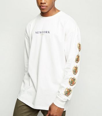 Off White New York Slogan Crest Sleeve T-Shirt