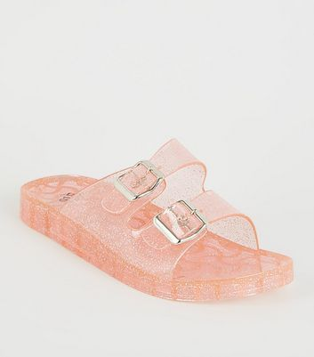 Girls Pink Glitter 2 Strap Jelly Sliders