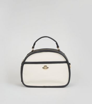 Off White Canvas Top Handle Bag