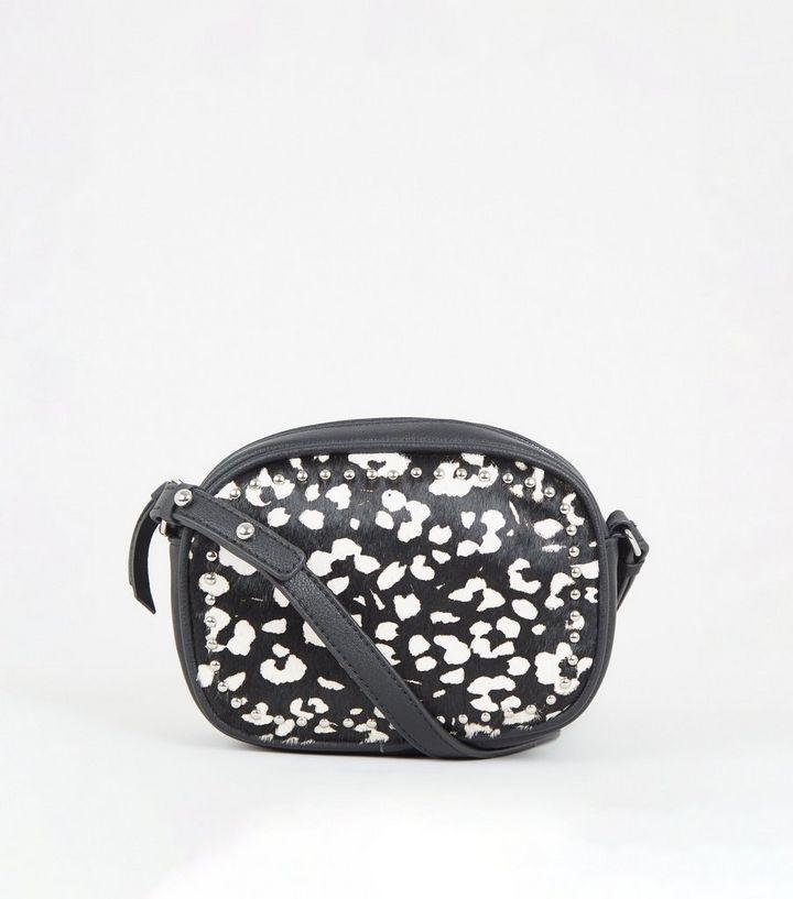 cec56e369de7 Black Leather Leopard Print Camera Bag | New Look