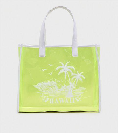 61e9fc7635593 Green Neon Tinted Clear Hawaii Print Tote Bag ...