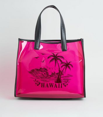 Pink Neon Tinted Clear Hawaii Tote Bag