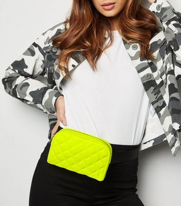 Yellow Neon Quilted Contrast Belt Bag