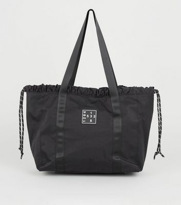 Black Number Logo Drawstring Shopper Bag