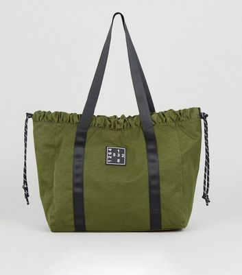 Khaki Number Logo Drawstring Shopper Bag