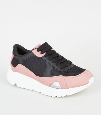 Black Colour Block Chunky Trainers