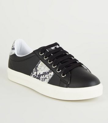 Black Faux Snake Panel Lace Up Trainers
