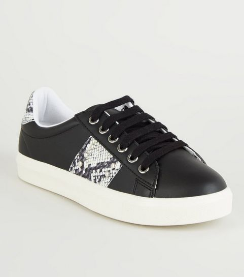4e42aa54ac0 ... Black Contrast Faux Snake Panels Lace up Trainers ...