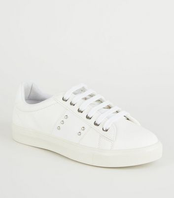 White Faux Snake Panel Lace Up Trainers
