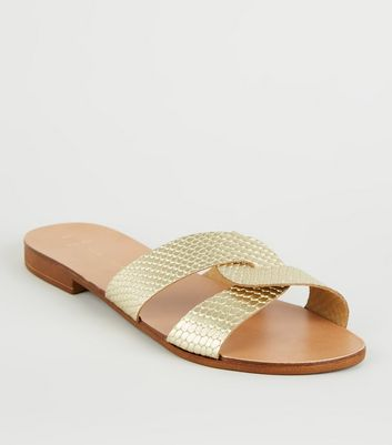 Wide Fit Gold Leather Strap Faux Snake Sliders