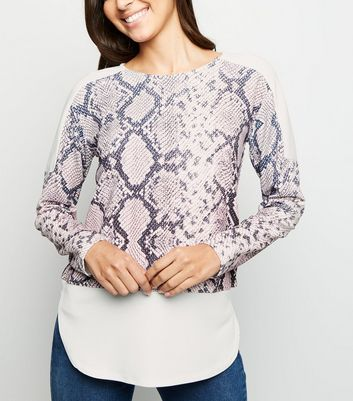 Blue Vanilla Pink Snake Print Contrast Top