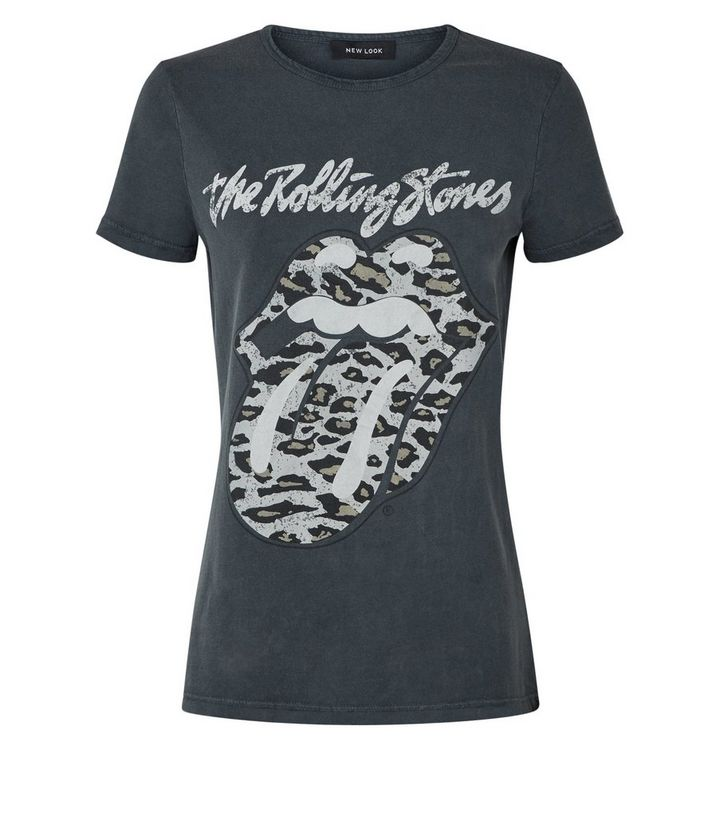 88f8073a Grey Rolling Stones Leopard Print Logo T-Shirt | New Look