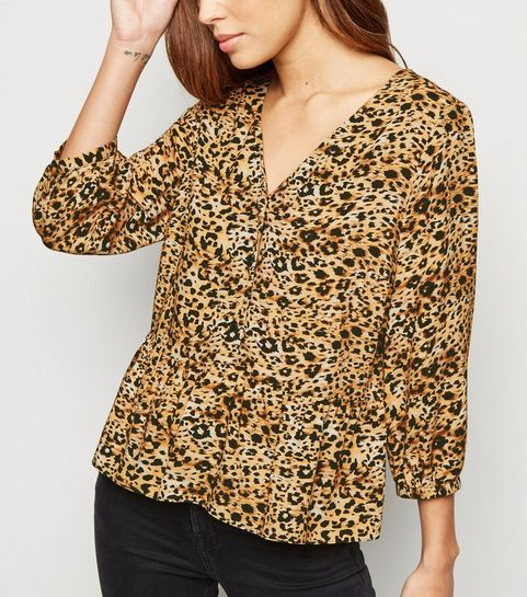 ... Brown Leopard Print Button Up Top ... 8ecf233c6