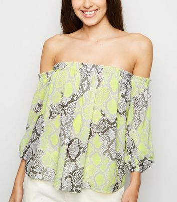 Green Snake Print 3/4 Sleeve Bardot Top