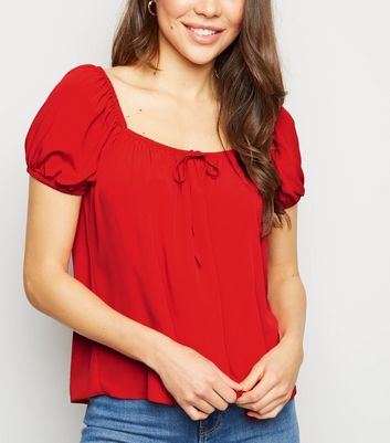 Red Tie Front Square Neck Top