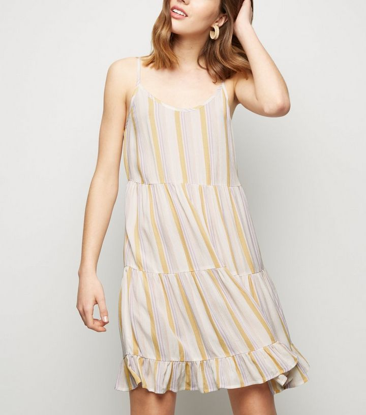 b88ccba591ca White Stripe Tiered Cheesecloth Sundress | New Look