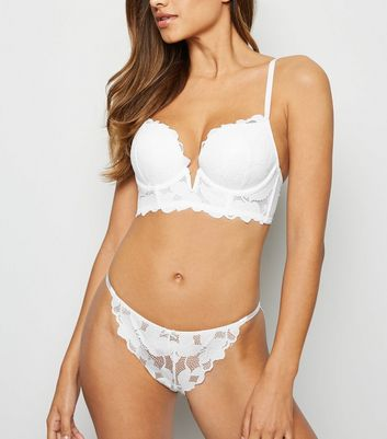 White Leaf Lace Tanga Briefs by New Look