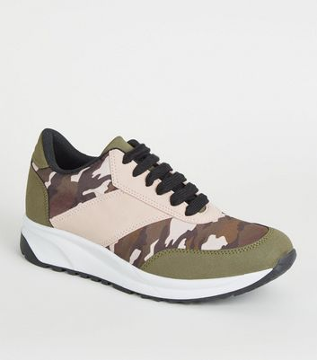 Girls Khaki Camo Panel Chunky Trainers