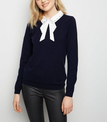 Blue Vanilla Navy Diamanté Collar Jumper