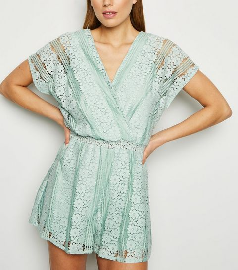 89aa913ab3 ... Light Green Wrap Front Lace Playsuit ...