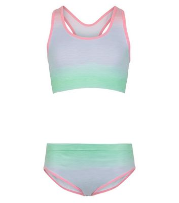 Girls Multicoloured Ombré Crop and Brief Set