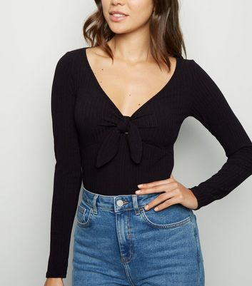 Black Ribbed Tie Front Bodysuit