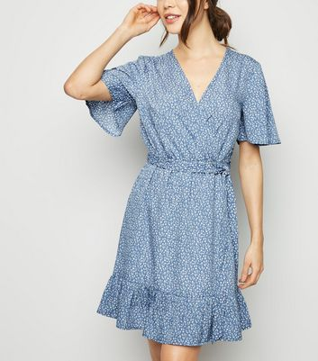 Blue Ditsy Floral Frill Wrap Dress