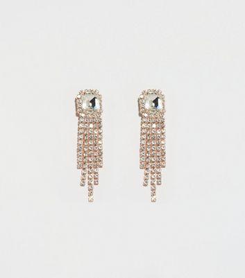 Rose Gold Premium Gem Center Tassel Earrings by New Look