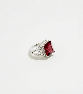 Mid Pink Pemium Square Gem Diamanté Ring