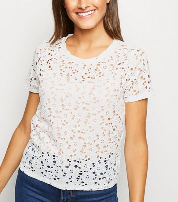 Off White Floral Lace T-Shirt