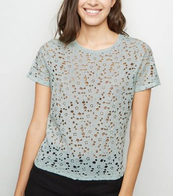 Mint Green Floral Lace T-Shirt