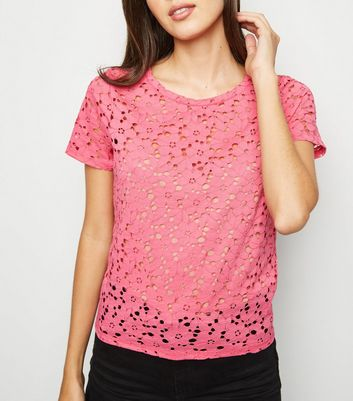 Bright Pink Floral Lace T-Shirt