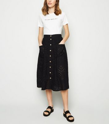 Black Broderie Pocket Font Midi Skirt