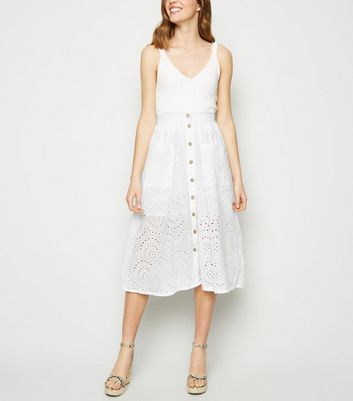 White Broderie Pocket Front Midi Skirt