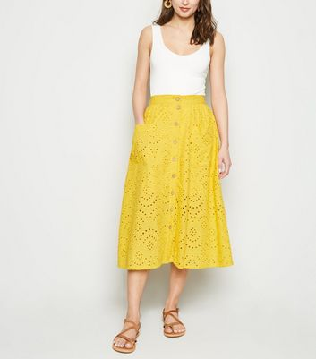 Yellow Broderie Pocket Front Midi Skirt