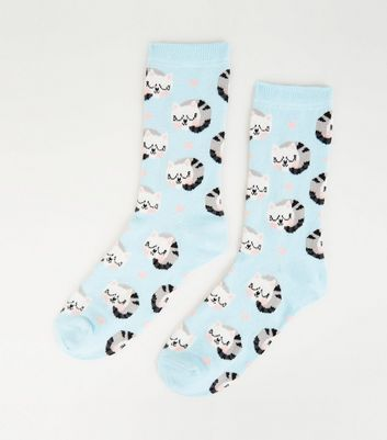 Pale Blue Sleepy Cat Spot Socks