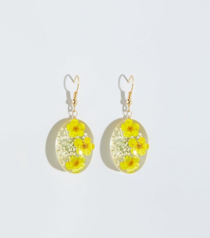 Yellow Pressed Flower Earrings New Look