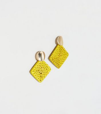Yellow Raffia Square Drop Earrings