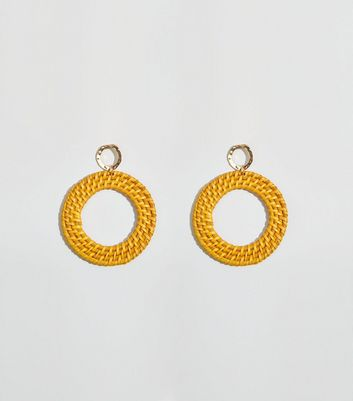 Yellow Raffia Hoop Earrings