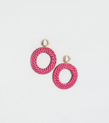 Mid Pink Raffia Hoop Drop Earrings
