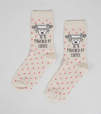 Cream Powered By Coffee Slogan Socks