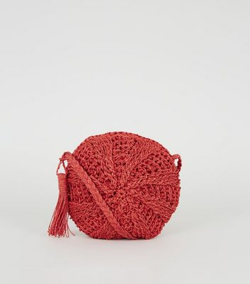 Red Woven Straw Round Cross Body Bag