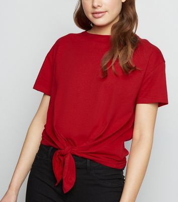 Dark Red Organic Cotton Tie Front T-Shirt