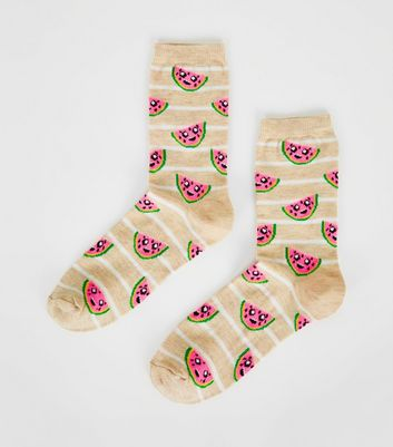 1 Pair Cream Watermelon Socks