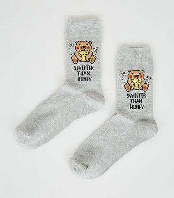 Grey Sweeter than Honey Slogan Bear Socks