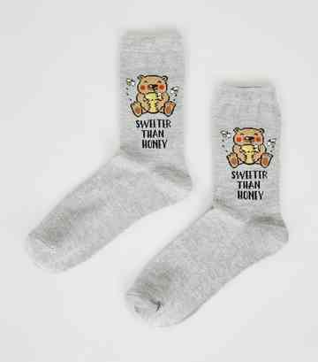 Grey Sweeter Than Honey Bear Slogan Socks