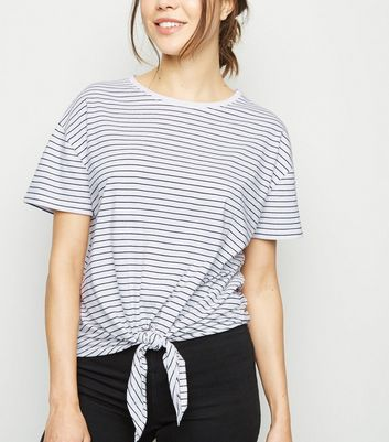 White Stripe Tie Front T-Shirt