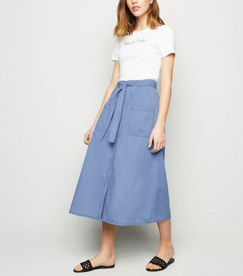 Blue Tie Waist Denim Midi Skirt