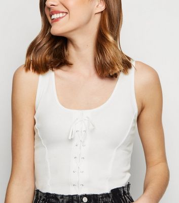 White Ribbed Lace Up Front Vest