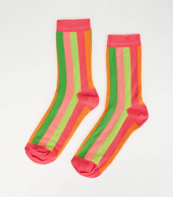 Multicoloured Neon Vertical Stripe Socks